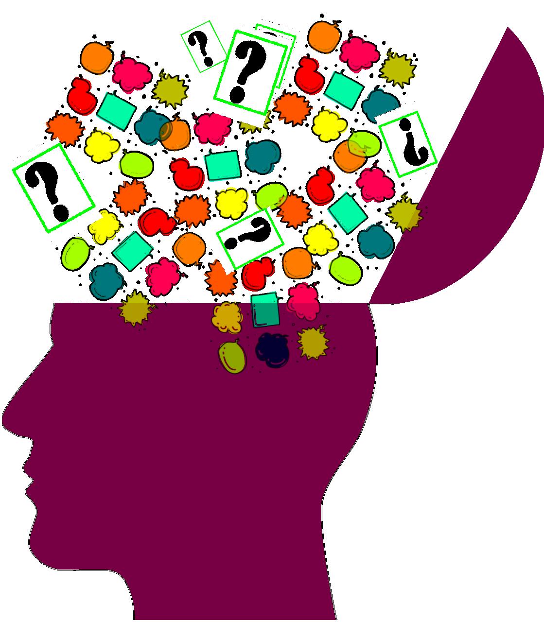 Kopf aufgeklappt bunte Gedankenblasen mit Fragezeichen
